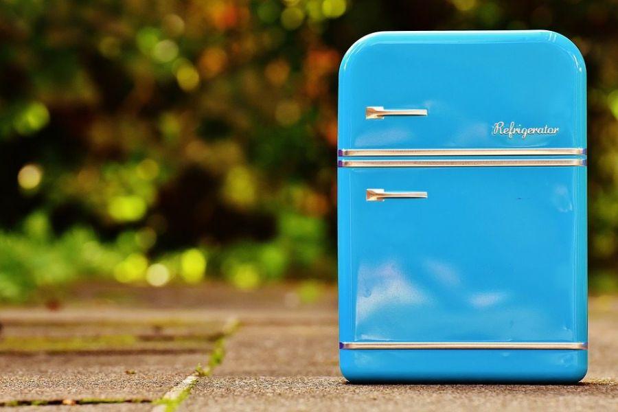Tin Can Cookie Jar Box Refrigerator Blue Storage