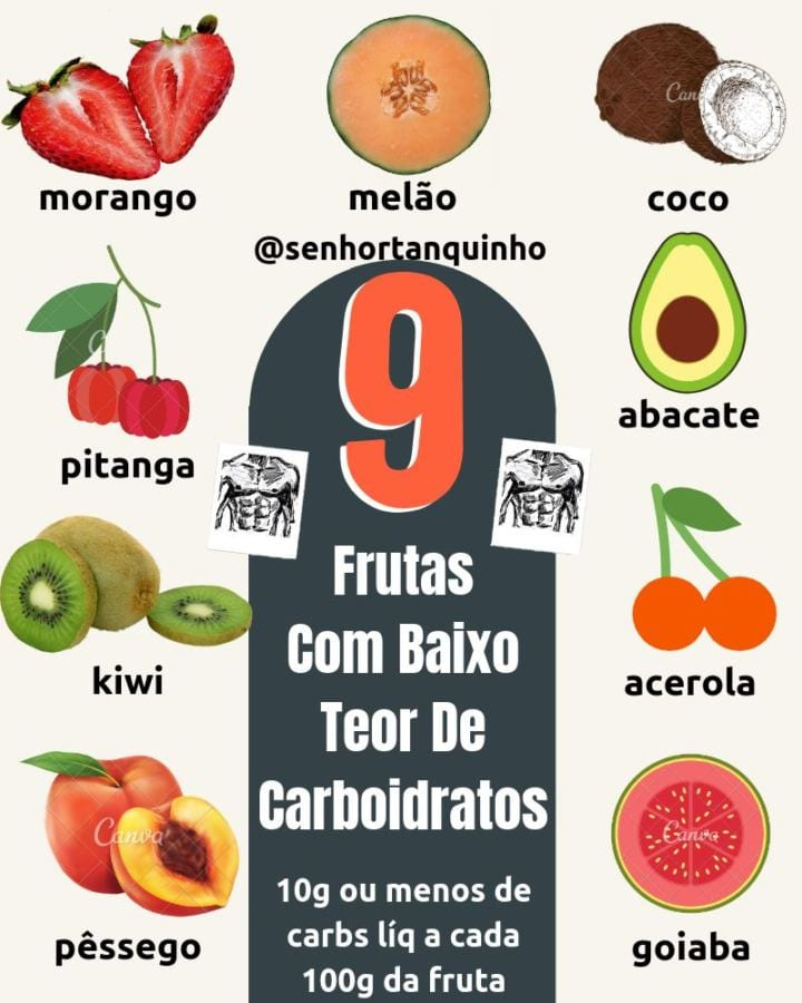 resumo visual das principais frutas low-carb