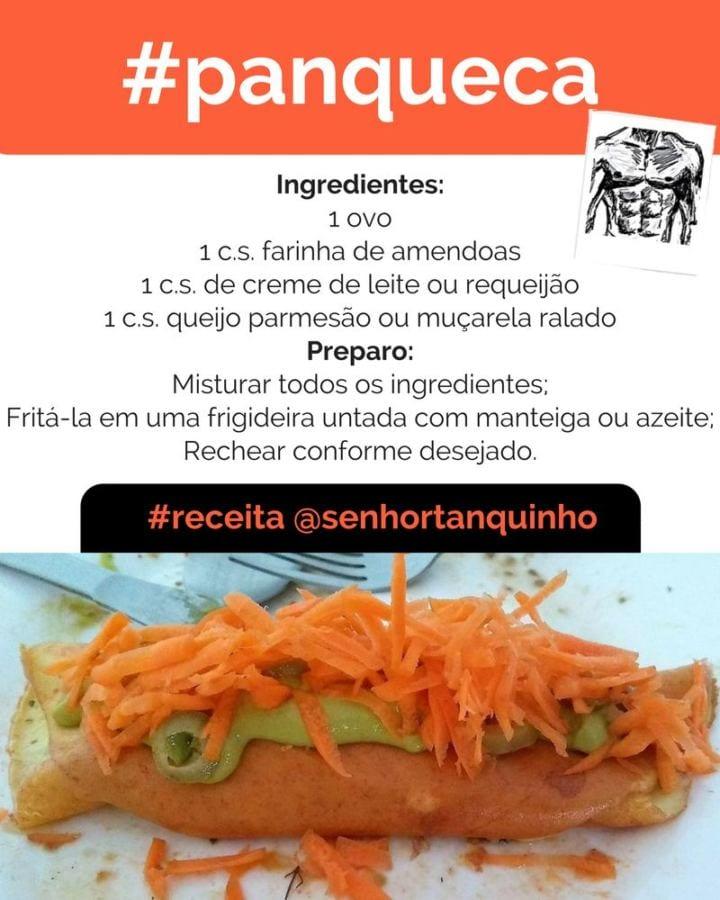 Imagem contendo a receita completa da panqueca low-carb