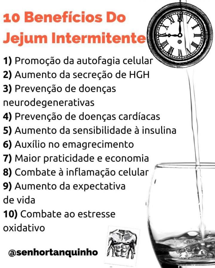 Infográfico resumo 10 benefícios da prática de jejum intermitente